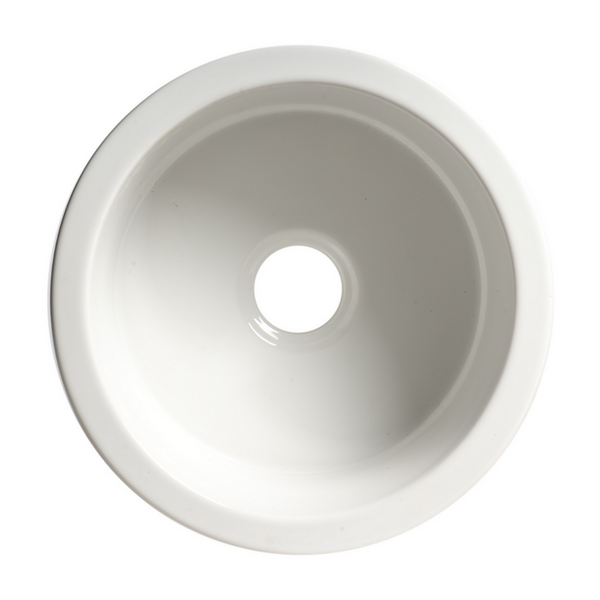 "ALFI brand White Round 18"" x 18"" Undermount / Drop In Fireclay Prep Sink"