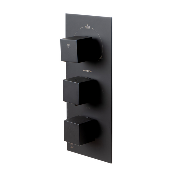 ALFI brand Black Matte 3-Way Thermostatic Valve Shower Mixer Square Knobs