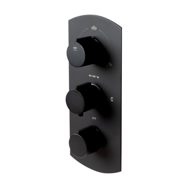 ALFI brand Black Matte 3-Way Thermostatic Valve Shower Mixer Round Knobs