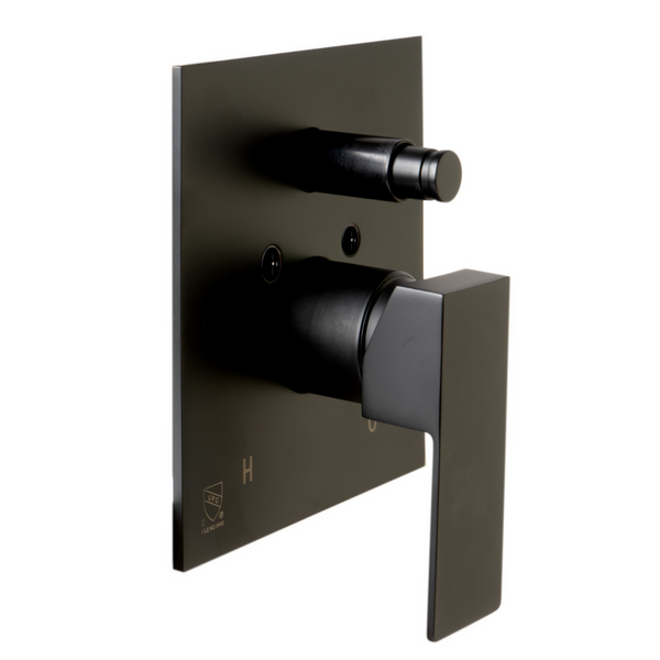 ALFI brand Black Matte Shower Valve with Square Lever Handle and Diverter