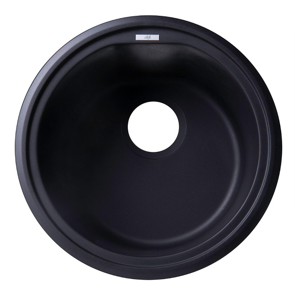 "ALFI brand  Black 17"" Undermount Round Granite Composite Kitchen Prep Sink"