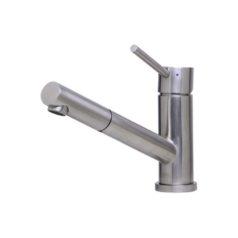 ALFI brand  Solid Brushed Stainless Steel Pull Out Single Hole Kitchen Faucet