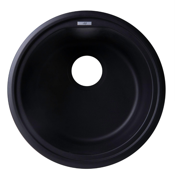 "ALFI brand  Black 17"" Drop-In Round Granite Composite Kitchen Prep Sink"