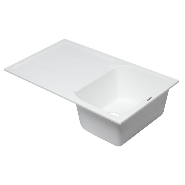 "ALFI brand  White 34"" Single Bowl Granite Composite Kitchen Sink with Drainboard"
