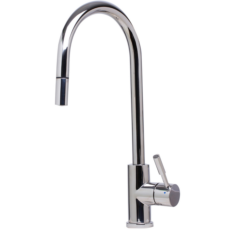 ALFI brand  Solid Polished Stainless Steel Single Hole Pull Down Kitchen Faucet