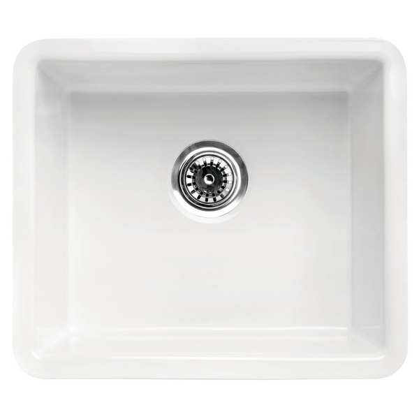 "ALFI brand  20"" White Single Bowl Fireclay Undermount Kitchen Sink"