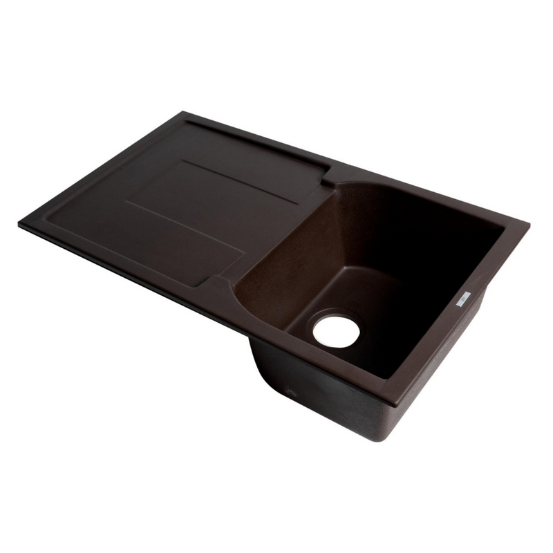 "ALFI brand Chocolate 34"" Single Bowl Granite Composite Kitchen Sink with Drainboard"
