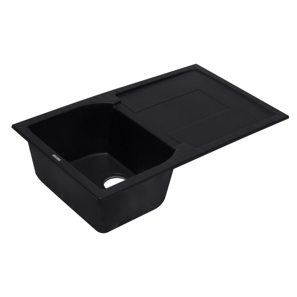 "ALFI brand  Black 34"" Single Bowl Granite Composite Kitchen Sink with Drainboard"