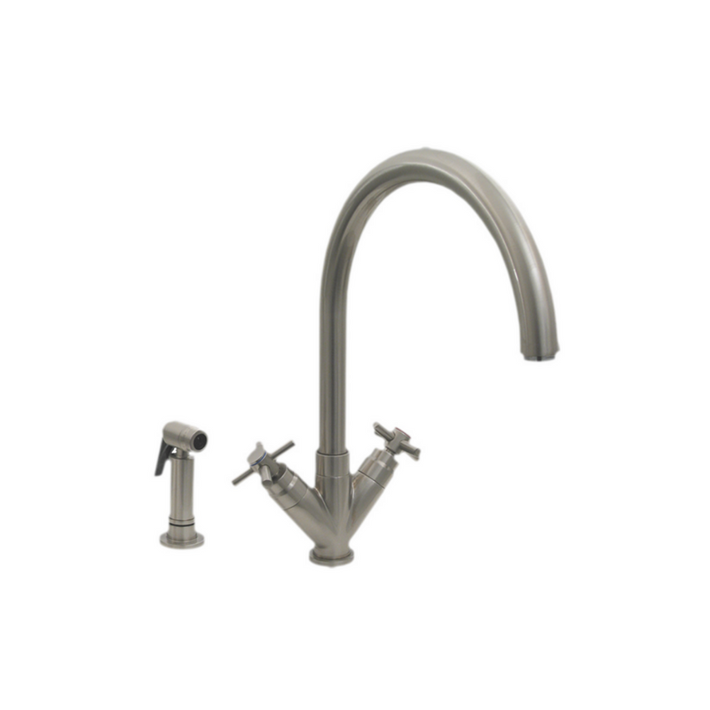 "Whitehaus  Luxe+ Dual Handle Faucet with Gooseneck Swivel Spout, ""V"" Cross Style Handles and Solid Brass Side Spray"