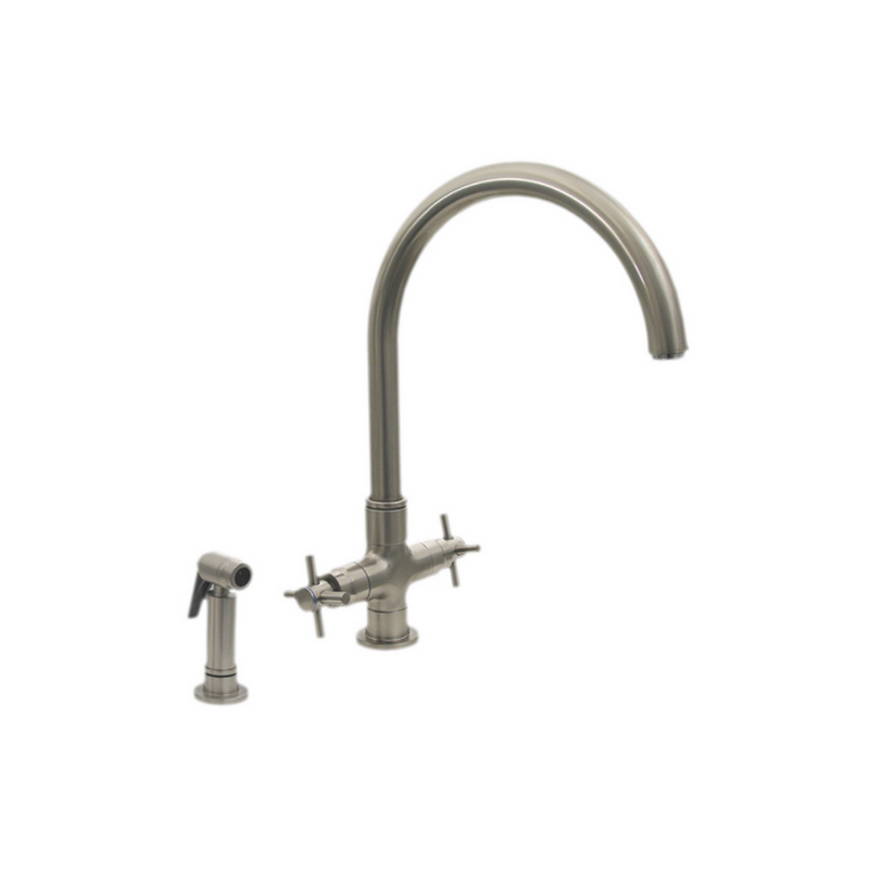 Whitehaus  Luxe+ Dual Handle Faucet with Gooseneck Swivel Spout, Cross Style Handles and Solid Brass Side Spray