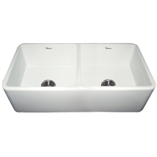 Whitehaus Collection Farmhaus Fireclay Duet Series Reversible Sink with Smooth Front Apron