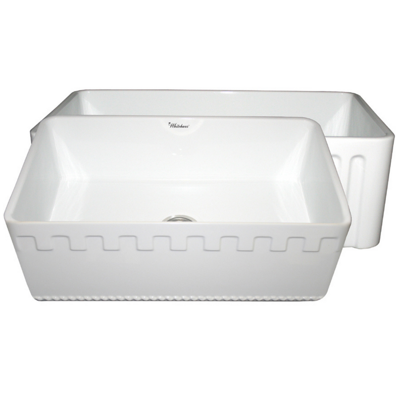Whitehaus Collection Farmhaus Fireclay Reversible Sink with a Castlehaus Design Front Apron on One Side  and Fluted Front Apron on the Opposite Side