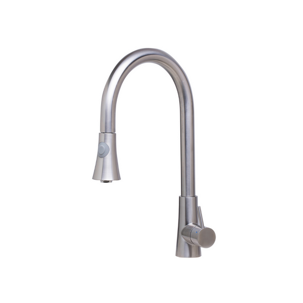 ALFI brand  Solid Brushed Stainless Steel Pull Down Single Hole Kitchen Faucet