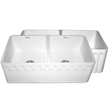 Whitehaus Collection Farmhaus Fireclay Reversible Double Bowl Sink with a Castlehaus Design Front Apron on One Side  and Fluted Front Apron on the Opposite Side