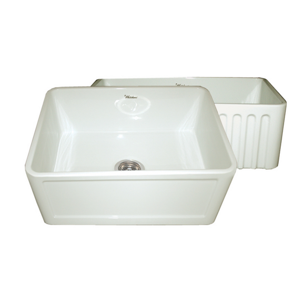 Whitehaus Collection Farmhaus Fireclay Reversible Sink with a Concave Front Apron on One Side and Fluted Front Apron on the Other