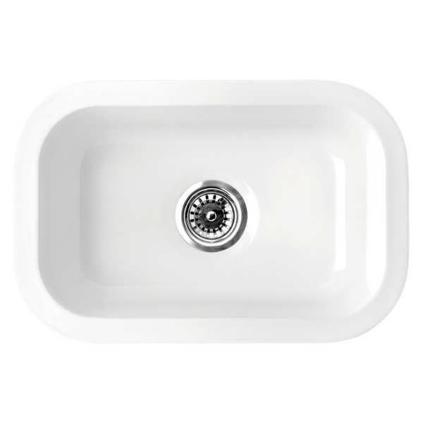 Whitehaus Collection Elementhaus small rectangle drop-in/undermount sink with 3 ½ inch center drain