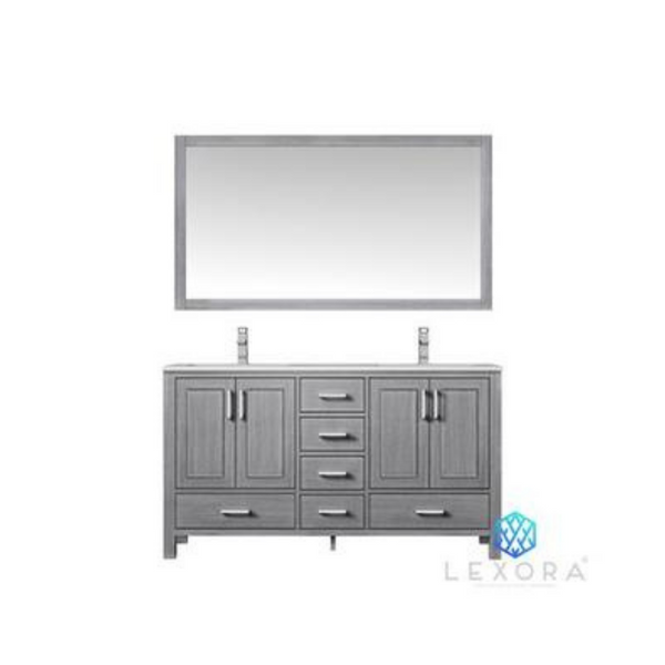 "LEXORA Jacques 60"" Distressed Grey Double Vanity, White Carrara Marble Top, White Square Sinks and 58"" Mirror"
