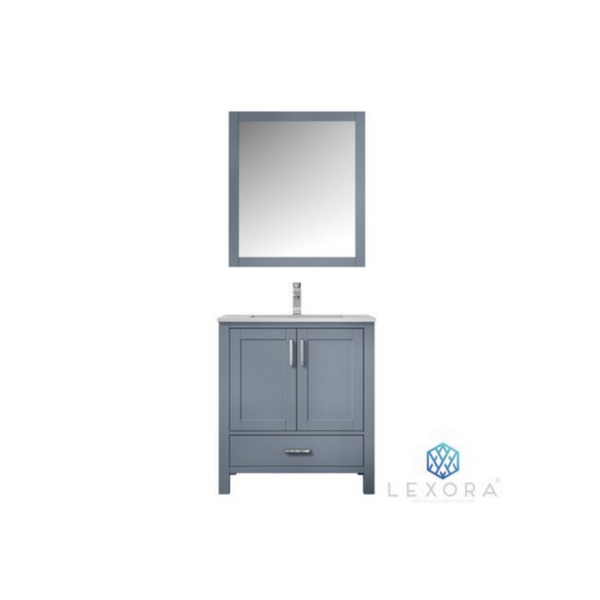 "LEXORA Jacques 30"" Dark Grey Single Vanity, White Carrara Marble Top, White Square Sink and 28"" Mirror"