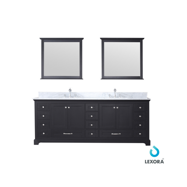 "LEXORA Dukes 84"" Espresso Double Vanity, White Carrara Marble Top, White Square Sinks and 34"" Mirrors"