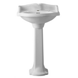 Whitehaus Isabella Collection Traditional Pedestal with an Integrated small oval bowl, Single Hole Faucet Drilling,Backsplash, Dual Soap Ledges, Decorative Trim and Overflow