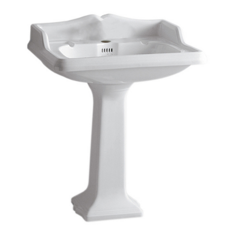 Whitehaus Isabella Collection Traditional Pedestal with an Integrated large Rectangular Bowl, Single Hole Faucet Drilling, Backsplash, Dual Soap Ledges, Decorative Trim and Overflow