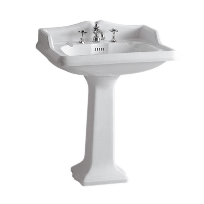 Whitehaus Isabella Collection Traditional Pedestal with an Integrated large Rectangular Bowl, Widespread Faucet Drilling, Backsplash, Dual Soap Ledges, Decorative Trim and Overflow