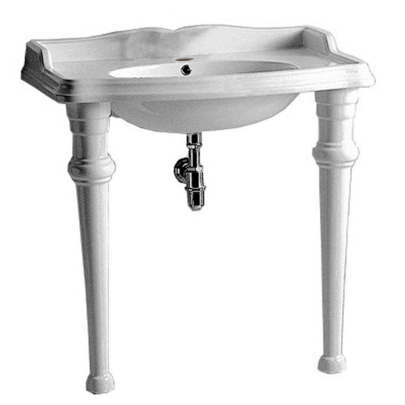 Whitehaus Isabella Collection Rectangular Console with integrated oval bowl, single hole faucet drill, backsplash, ceramic leg support and chrome overflow