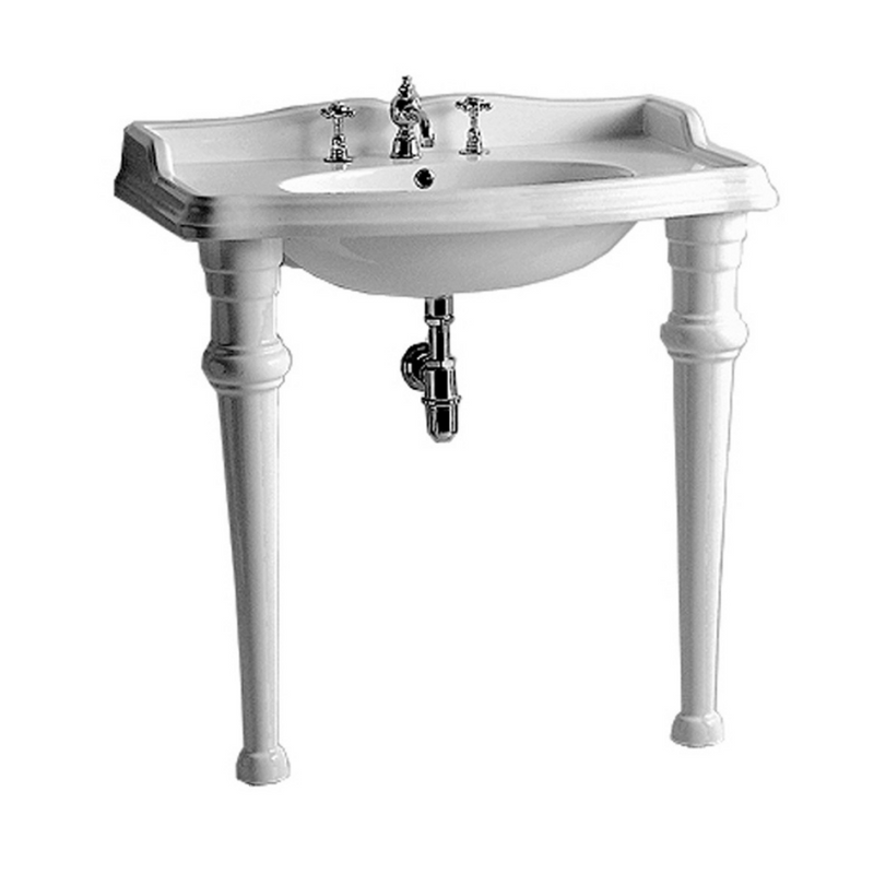 Whitehaus Isabella Collection Rectangular Console with integrated oval bowl, widespread faucet drill, backsplash, ceramic leg support and chrome overflow