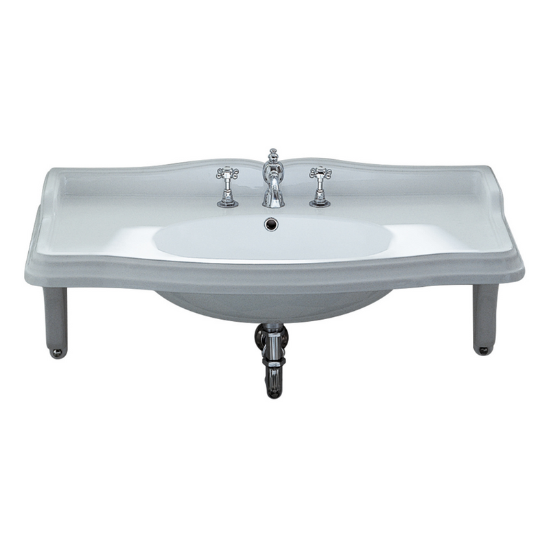 Whitehaus Isabella Collection Large Rectangular Wall Mount Basin with Integrated Oval Bowl, Widespread Faucet Drilling and Ceramic Shelf Supports