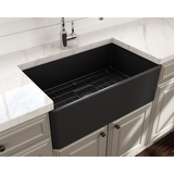 BOCCHI Classico Farmhouse Apron Front Fireclay 30 in. Single Bowl Kitchen Sink with Protective Bottom Grid and Strainer