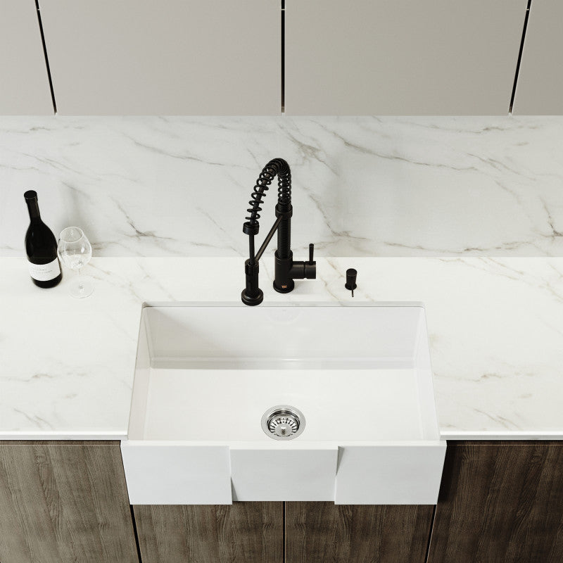 "VIGO Square Front Matte Stone™ Farmhouse Kitchen Sink 30""L x 18""W - LUXLLEY"