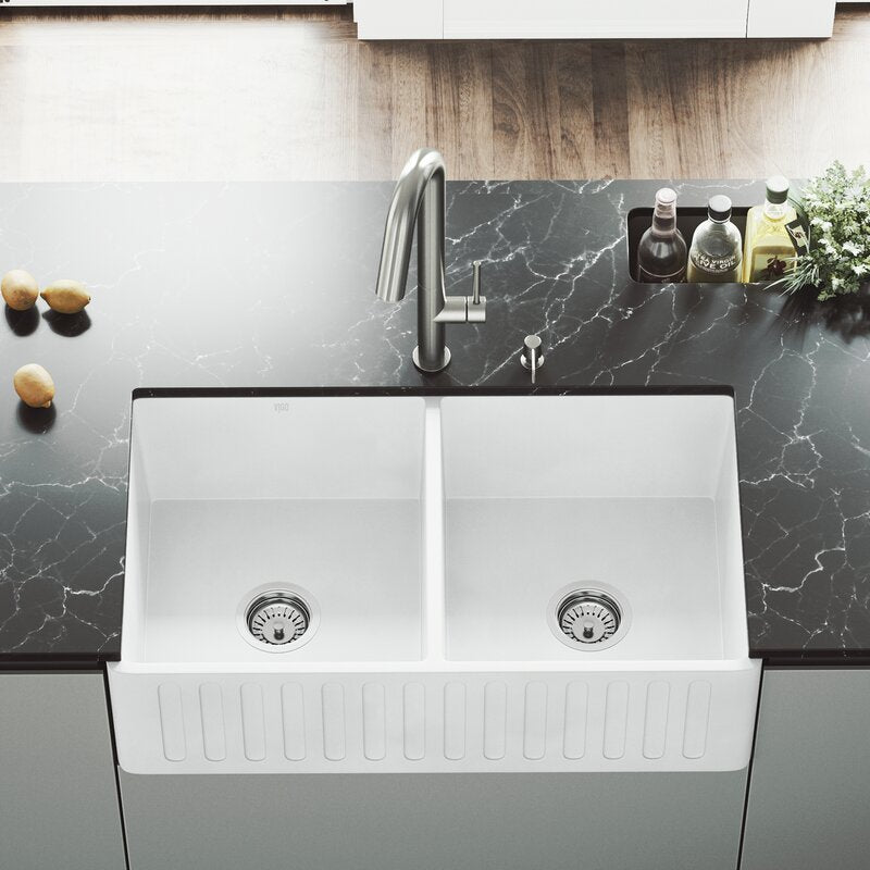 "VIGO Matte Stone™ Double Bowl Farmhouse Kitchen Sink 33""L x 18""W - LUXLLEY"