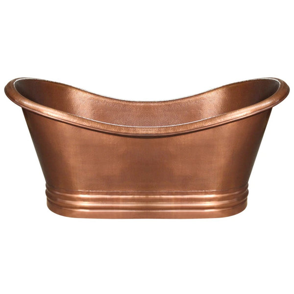 Whitehaus Collection Bathhaus Copper Freestanding Handmade Double Ended Bathtub with Hammered Exterior, Lightly Hammered Interior and No Overflow
