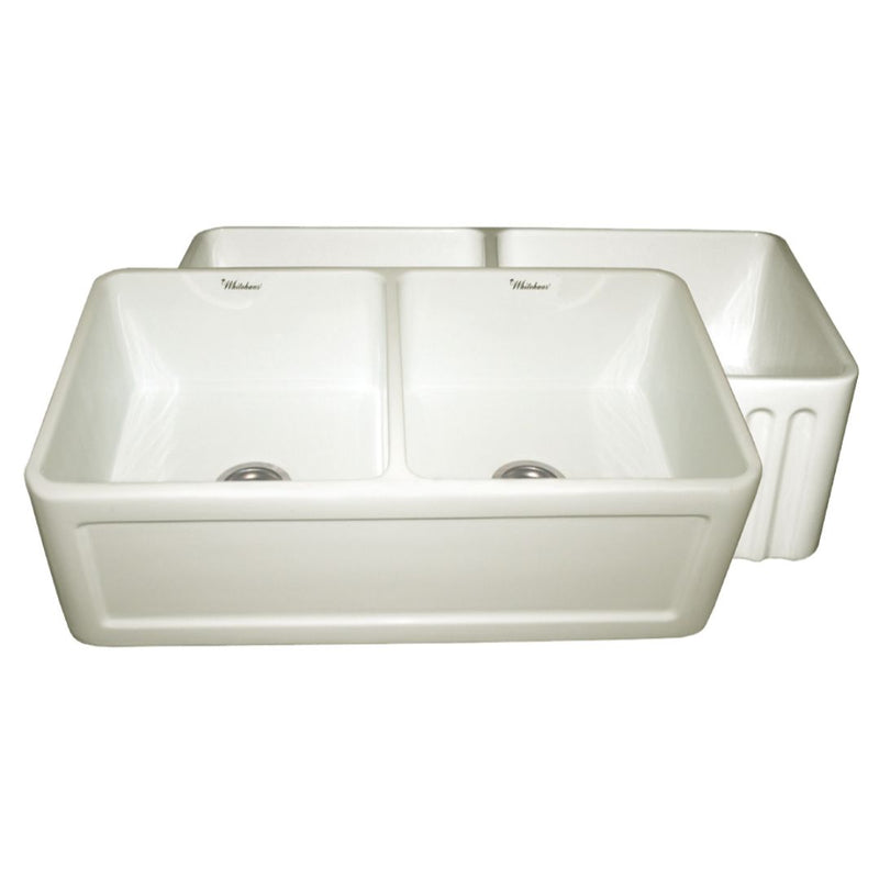 Whitehaus Collection Farmhaus Fireclay Reversible Double Bowl Sink with a Concave Front Apron on One Side and Fluted Front Apron on the Other