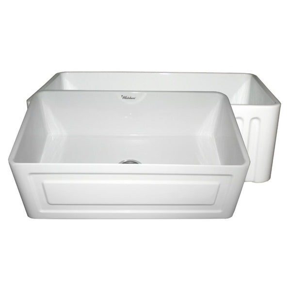 Whitehaus Collection Farmhaus Fireclay Reversible Sink with a Raised Panel Front Apron on One Side and Fluted Front Apron on the Opposite Side