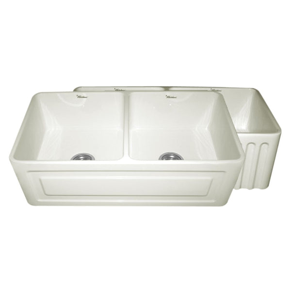 Whitehaus Collection Farmhaus Fireclay Reversible Double Bowl Sink with a Raised Panel Front Apron on One Side and Fluted Front Apron on the Opposite Side