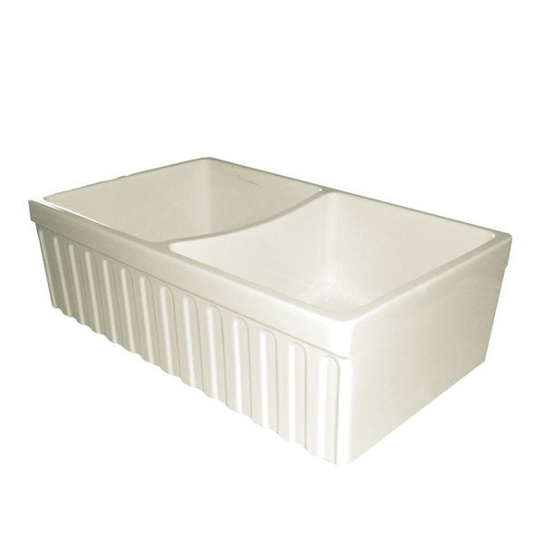 "Whitehaus Collection Farmhaus Fireclay Quatro Alcove Reversible Double Bowl Sink with a Fluted Front Apron and 2"" Lip on One Side and 2 ½"" Lip on the Opposite Side"