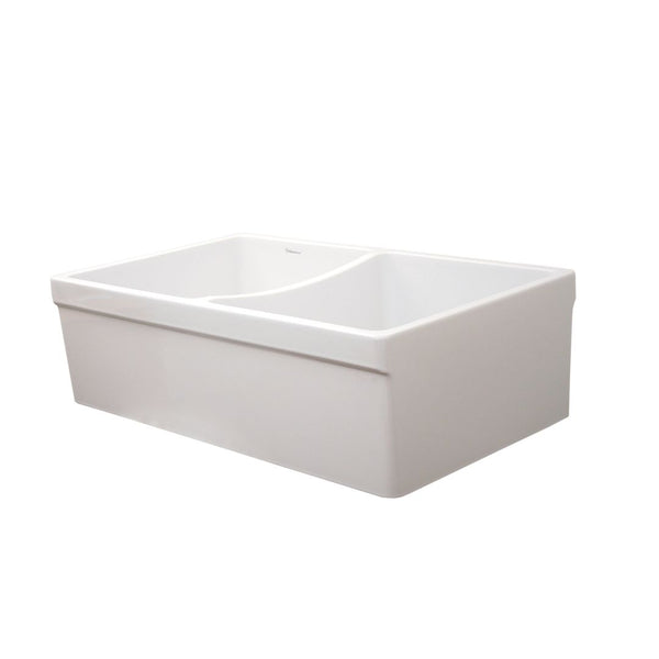 "Whitehaus Collection Farmhaus Fireclay Quatro Alcove Reversible Double Bowl Sink with 2"" Lip on One Side and 2 ½"" Lip on the Opposite Side"