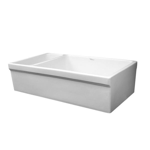 "Whitehaus Collection Farmhaus Fireclay Quatro Alcove Large Reversible Sink and Small Bowl with Decorative 2 ½"" Lip on Both Sides"