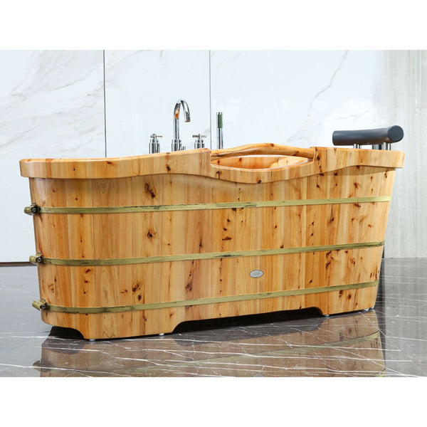 "ALFI brand  61"" Free Standing Cedar Wooden Bathtub with Chrome Tub Filler"