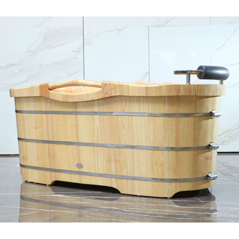"ALFI brand 61"" Free Standing Wooden Bathtub with Cushion Headrest"