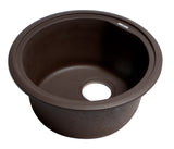 "ALFI brand  Chocolate 17"" Undermount Round Granite Composite Kitchen Prep Sink"