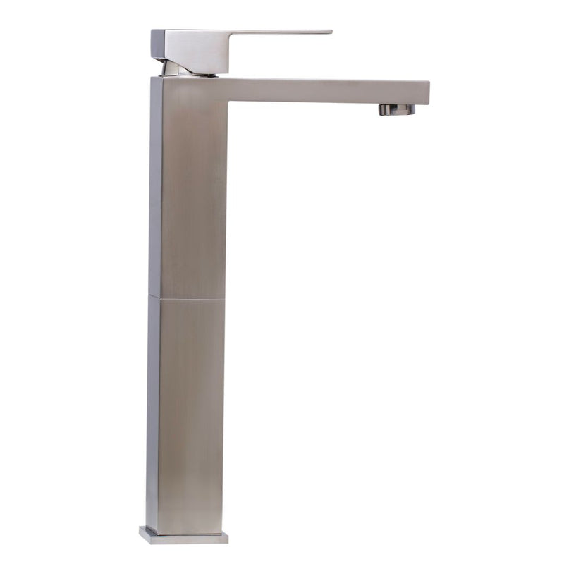 ALFI brand Brushed Nickel Tall Square Single Lever Bathroom Faucet