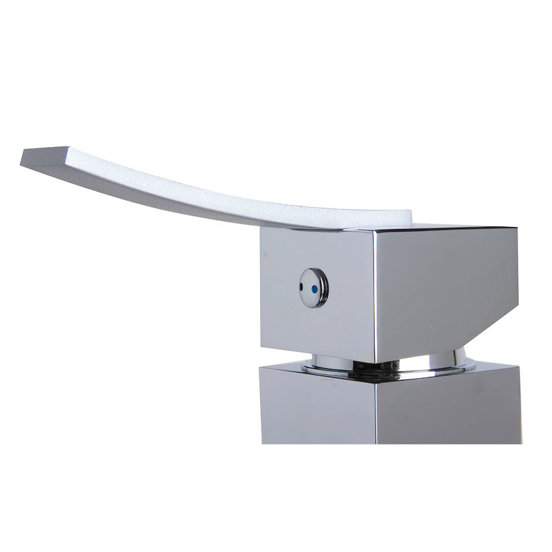 ALFI brand  Polished Chrome Square Body Curved Spout Single Lever Bathroom Faucet