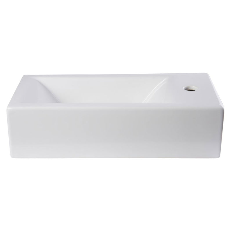 ALFI brand Small White Modern Rectangular Wall Mounted Ceramic Bathroom Sink Basin