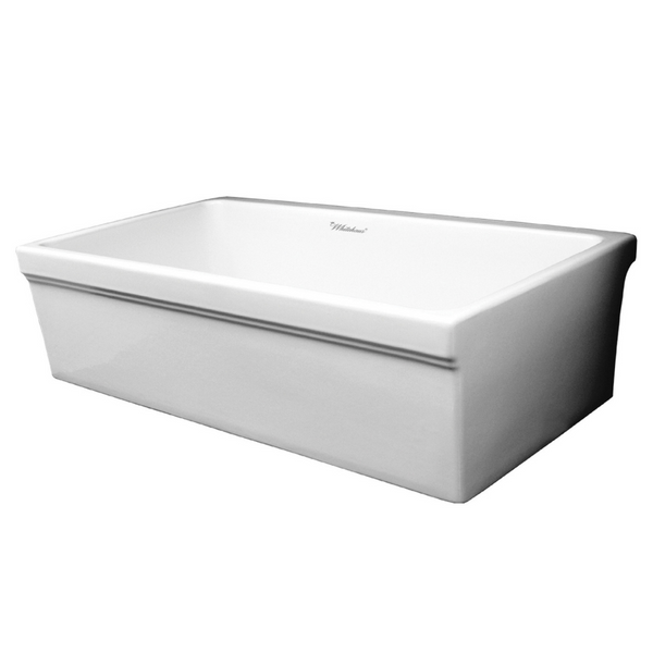 "Whitehaus Collection Farmhaus Fireclay Quatro Alcove Reversible Sink with Decorative 2 ½"" Lip on One Side and 2"" Lip on the Opposite Side"