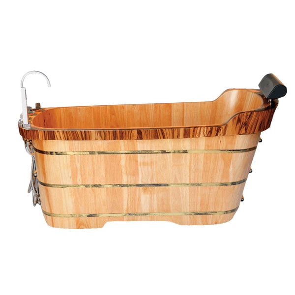 "ALFI brand 59"" Free Standing Wooden Bathtub with Chrome Tub Filler"