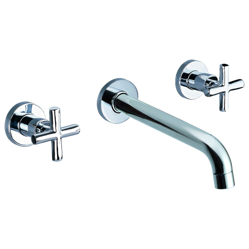 "ALFI brand  Polished Chrome 8"" Widespread Wall-Mounted Cross Handle Faucet"