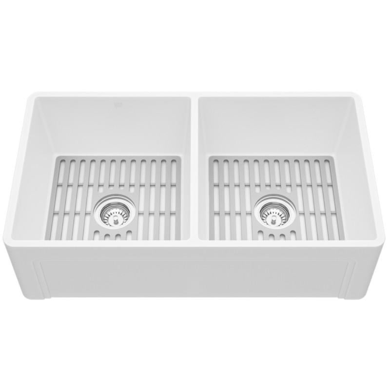 "VIGO Matte Stone™ Double Bowl Farmhouse Casement Apron Front Kitchen Sink with Gray Silicone Grid 33""L x 18""W - LUXLLEY"