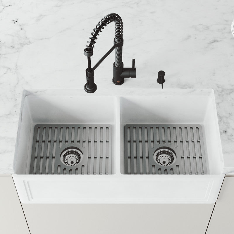 "VIGO Matte Stone™ Double Bowl Farmhouse Crown Apron Front Kitchen Sink with Gray Silicone Grid 36""L x 18""W - LUXLLEY"